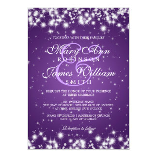 Elegant Wedding Winter Sparkle Purple Card