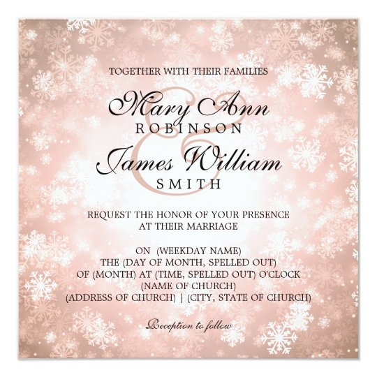 Elegant Wedding Winter Wonderland Sparkle Copper Card