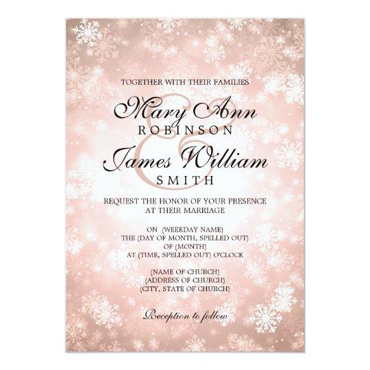 Elegant Wedding Winter Wonderland Sparkle Copper Card
