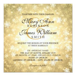 Elegant Wedding Winter Wonderland Sparkle Gold Card