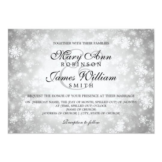 Elegant Wedding Winter Wonderland Sparkle Silver Card