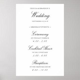 Elegant Welcome Wedding Order of Events Reception Poster
