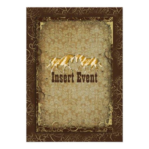Elegant western horse ranch party invitations