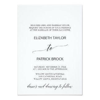 Elegant White and Black Calligraphy Formal Wedding Card