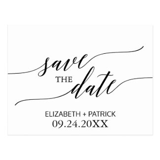 Elegant White and Black Calligraphy Save the Date Postcard