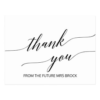 Elegant White and Black Calligraphy Thank You Postcard