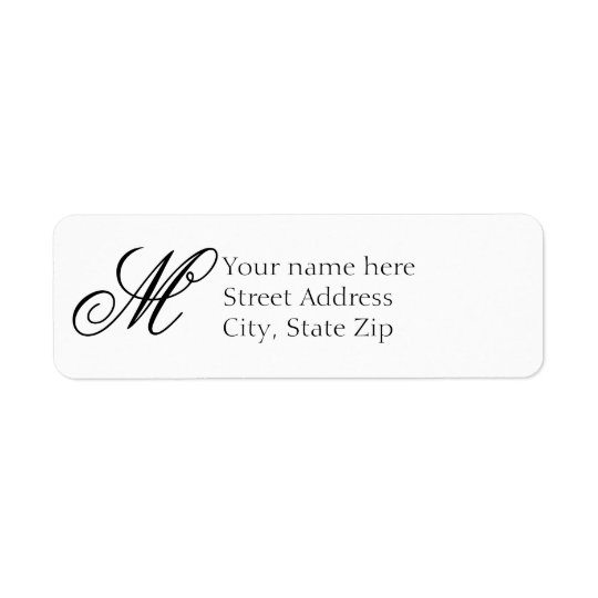 Elegant White and Black Monogram Return Address Label