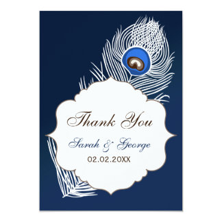 Elegant white and blue peacock Thank You Personalized Announcements