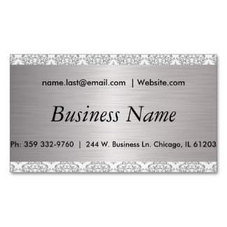 Elegant White and Brush Silver Steel Damask Magnetic Business Cards