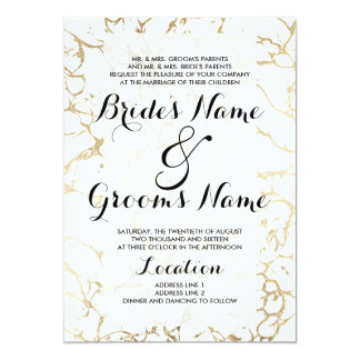 Elegant white and gold chic marble luxury wedding 13 cm x 18 cm invitation card