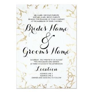 Elegant white and gold chic marble luxury wedding card