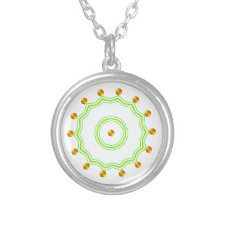 Elegant White and Gold Dots Chic Green Zigzag Round Pendant Necklace