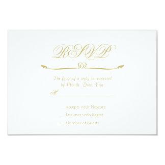 Elegant White and Gold Monogram RSVP Card