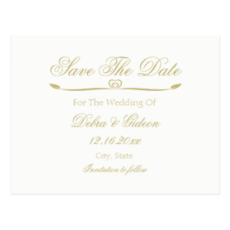 Elegant White and Gold Monogram Save the Date Postcard