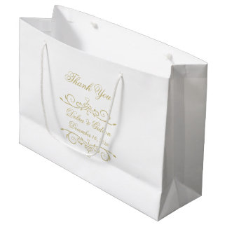 Elegant White and Gold Monogram Thank You Large Gift Bag