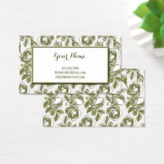 Elegant White and Gold Roses Custom Business Cards