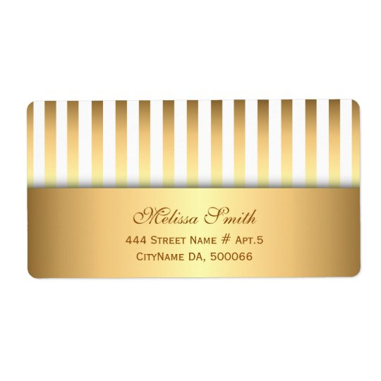 Elegant White and Gold Stripes Pattern Shipping Label