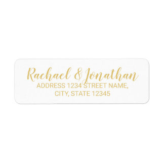 Elegant White and Gold Wedding Return Address Label