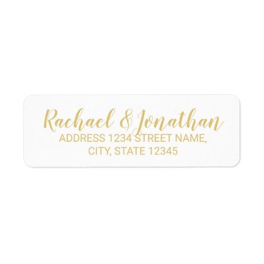Elegant White and Gold Wedding Return Address Label