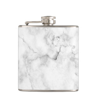 Elegant white and gray faux marble texture hip flask
