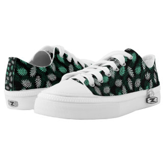 Elegant White and Green Palm Leaves Shoes