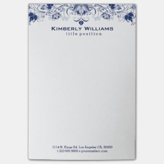 Elegant White And Navy-Blue Floral Lace Post-it Notes