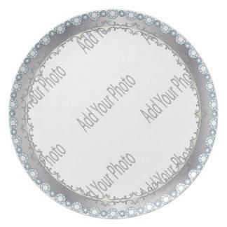 Elegant White and Silver Decorative Plate