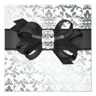 Elegant White and Silver Invite with Diamond Bow