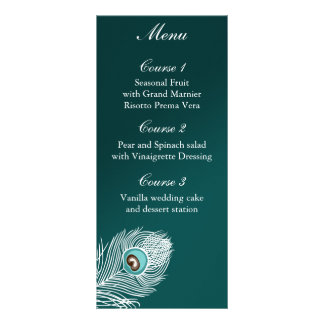 Elegant white and teal peacock menu personalized rack card