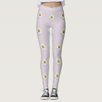 Elegant White and Yellow Daisy Leggings