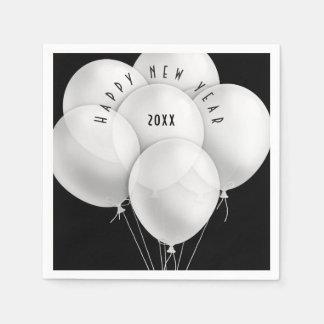 Elegant White Balloons New Year Celebration Paper Serviettes