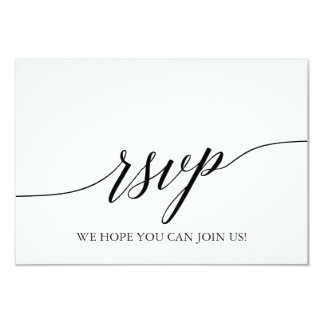 Elegant White & Black Calligraphy Menu Choice RSVP Card