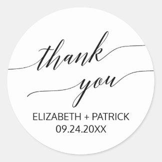 Elegant White & Black Calligraphy Thank You Favor Classic Round Sticker