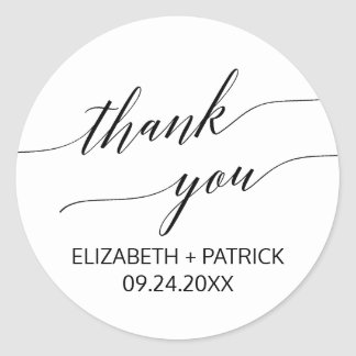 Elegant White & Black Calligraphy Thank You Favor Round Sticker