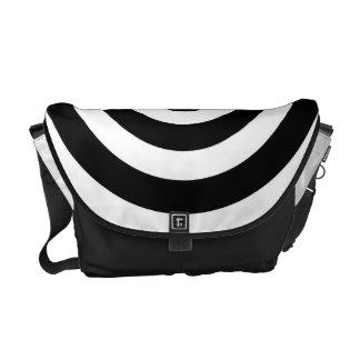 Elegant white black circles - Messenger Bag