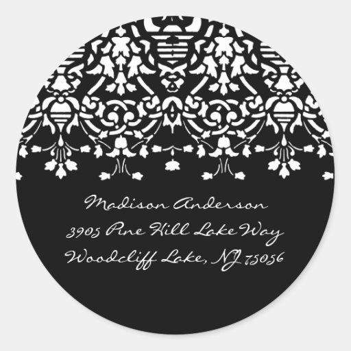 Elegant White & Black Damask Address Label Sticker