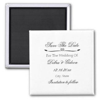 Elegant White & Black Heart Flourish Save the Date Square Magnet