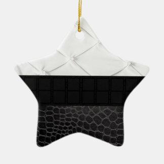 Elegant White Black Leather Ceramic Star Decoration