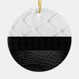Elegant White Black Leather Round Ceramic Decoration