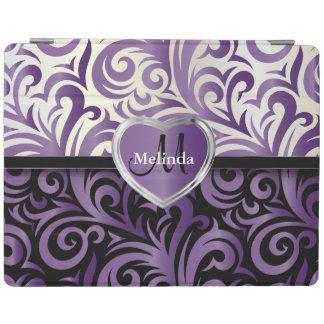 Elegant White, Black & Purple Swirl Floral Pattern iPad Cover