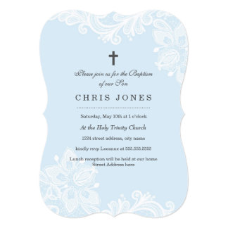 Elegant White Blue Lace baptism Invitation