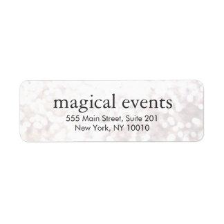 Elegant White Bokeh Glitter Look Address Label