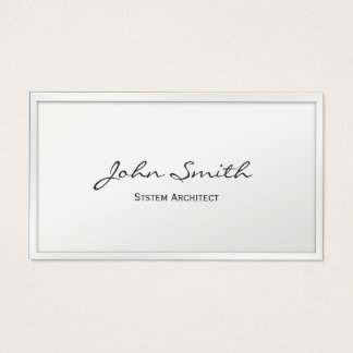 Elegant White Border System Architect Business Card