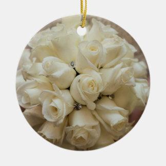 Elegant White Bridal Bouquet Ceramic Ornament