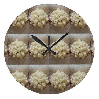 Elegant White Bridal Bouquet Large Clock