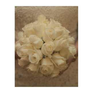 Elegant White Bridal Bouquet Wood Wall Art