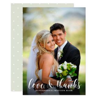 Elegant White Calligraphy Wedding Thank You Photo Card