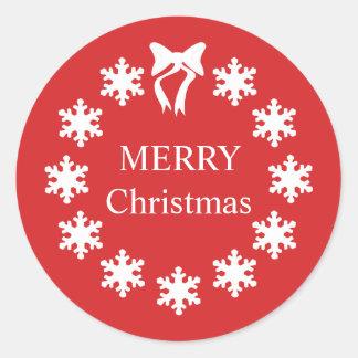 Elegant White Christmas Red Snowflakes Classic Round Sticker