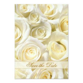 Elegant white-cream roses Save the Date Invitation