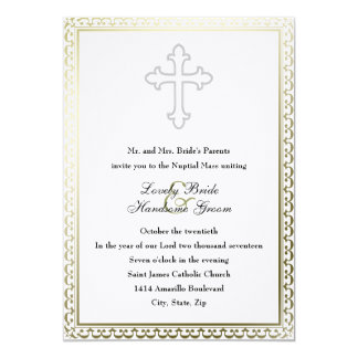 Elegant White Cross Catholic Wedding Invitation